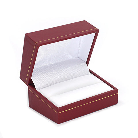 Double Ring Box Sharp Corner w/ Gold Trim, Prime Collection - Amber Packaging