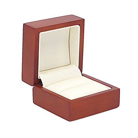 Single Ring Box Domed Wood, Scarlett Collection - Amber Packaging