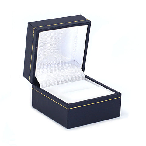 Single Ring Box Sharp Corner w/ Gold Trim, Prime Collection - Amber Packaging