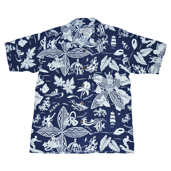 Avanti Hawaiian Shirt - KING & ISLANDS - NAVY