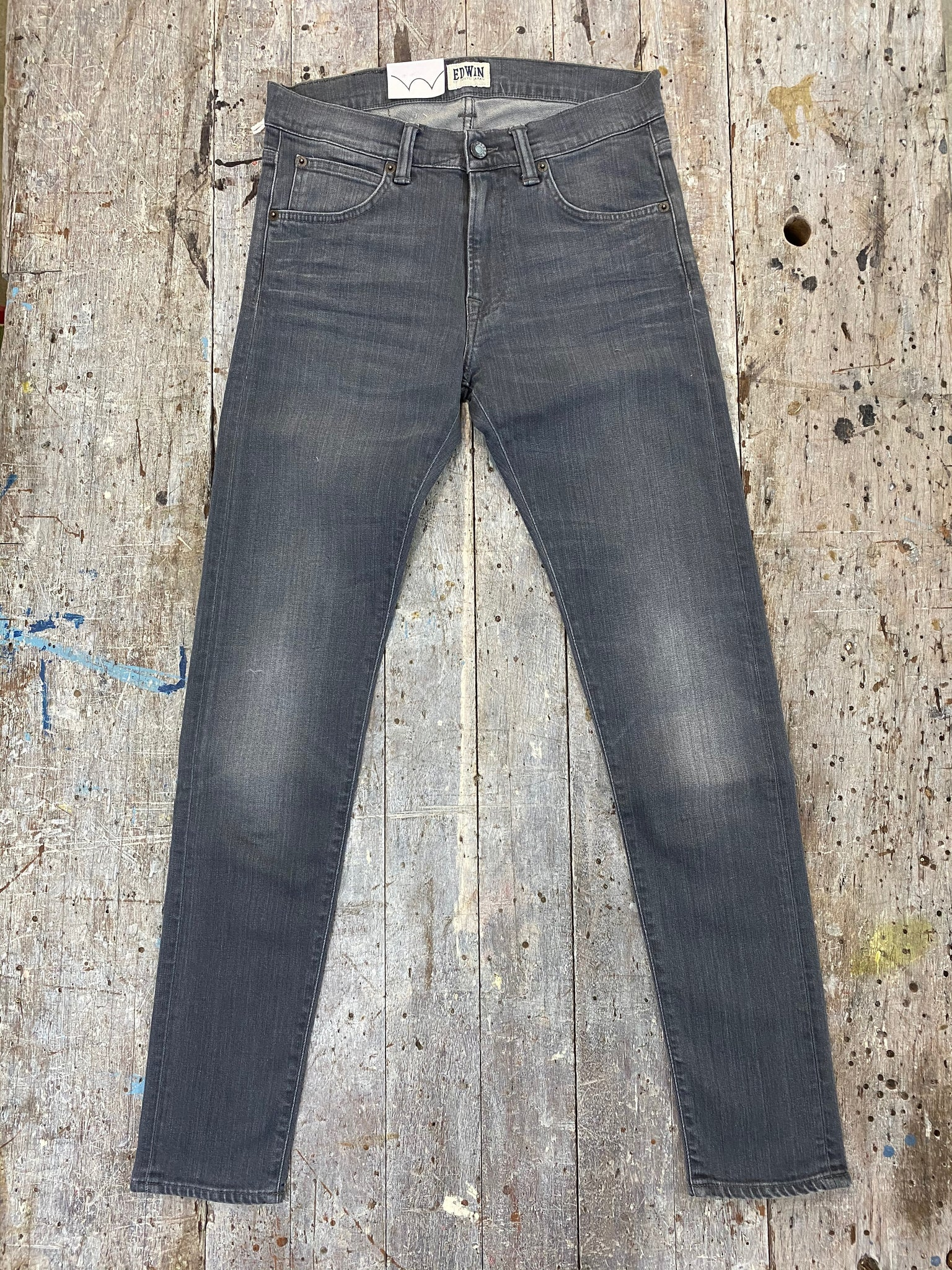 Edwin ED 85 Slim Tapered Low Crotch CS Grey Stretch Dark Trip Used