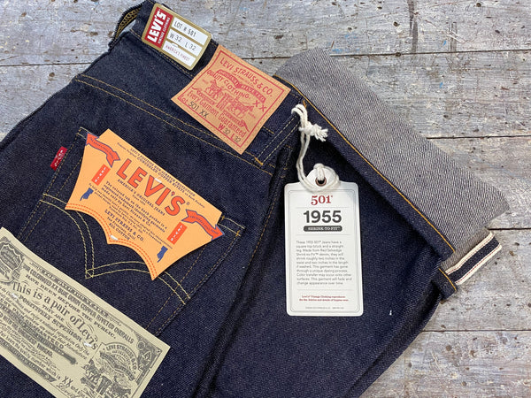 LEVIS VINTAGE CLOTHING 1955 501XX RAW SHRINK TO FIT