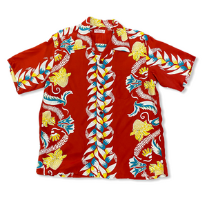 Sugarcane Sun Surf short sleeve Hawaiian shirt - Red Floral Border