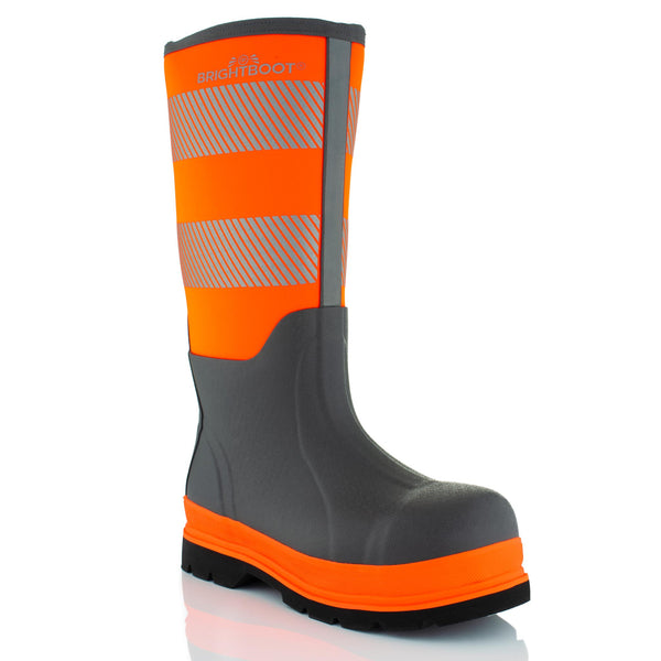 Brightboot High Leg Waterproof Safety Boots Orange / Grey