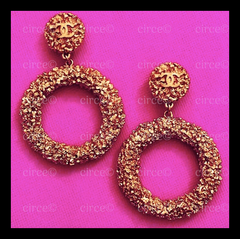 * Chanel Vintage 1993 Textured Large, JUMBO, Gold Hoop Earrings *
