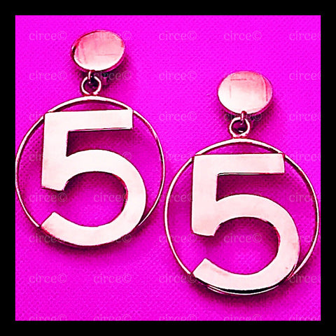 * Chanel Vintage Number Five 5 Bright, Gold Earrings *