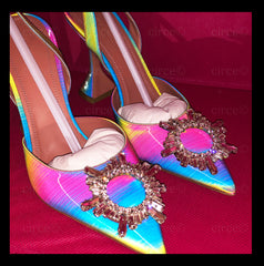 Amina Muaddi  Begum Multi Rainbow Slingback Pumps