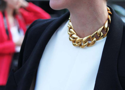 SOLD!!! Celine Large Gold Chain Choker Necklace, Spring 2012