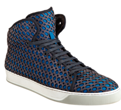 Lanvin Perforated Overlay High Top Sneaker, Justin Bieber
