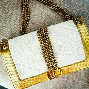 ** Chanel Boy Rock Bag, Le Boy: Gold, White: ASO Kourtney Kardashian **