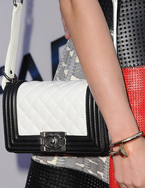 1f59f1f01bd5 Chanel Black + White Leather Boy Quilted Bag: ASO Miley Cyrus   circe