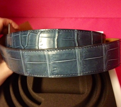 SOLD!!!:  2013 Rare Hermes Blue Storm Crocodile Belt Strap, 32mm