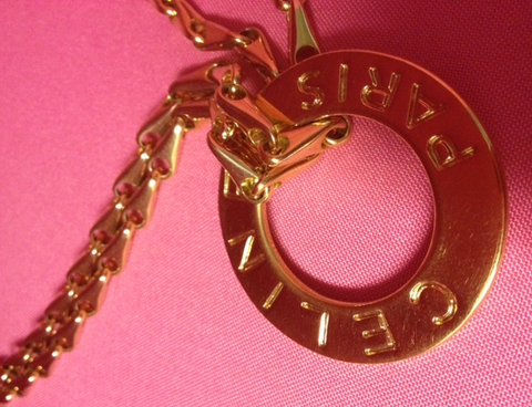 Vintage Celine Circle Gold Chain Pendant Necklace