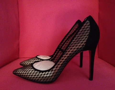 NIB Christian Louboutin Pigaresille Black Suede & Mesh 100mm