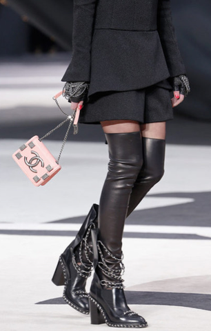 Chanel RUNWAY Embellished Chain Boots with Leather Gaiters: ASO Miley Cyrus, Beyonce