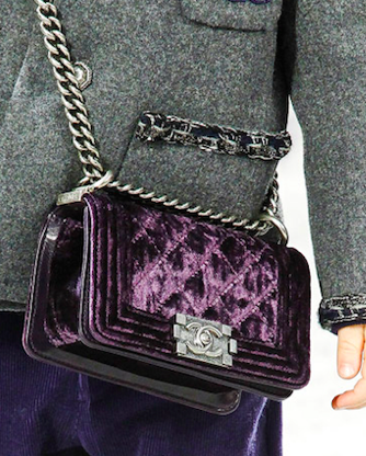 Chanel Purple Velvet Boy Bag: ASO Mira Duma @ Fashionweek