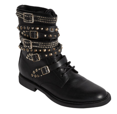 Saint Laurent Studded Black Leather Rangers Boots: ASO Alessandra Ambrosio