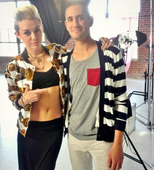Versus Versace Silk Jacket With Iconic Belt Print: ASO Miley Cyrus
