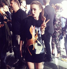 GIVENCHY Bambi And Female Form Print Sweater: ASO Lily Collins
