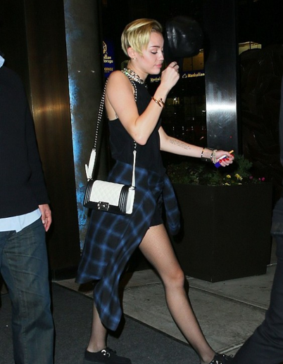 3c25aca4b356 ... Chanel Black + White Leather Boy Quilted Bag: ASO Miley Cyrus ...