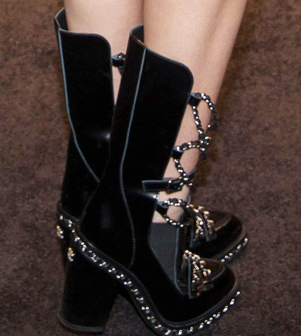 Iconic, Runway Chanel Black Leather, Silver Chain Boots: ASO Miley Cyrus