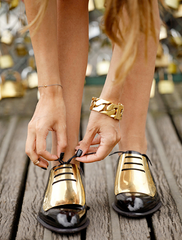** 2013 Celine Gold Plated Oxfords Brogues 37: Nicole Richie, @tashsefton **