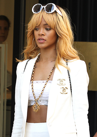 Chanel Vintage Long Quilted Necklace with Rhinestone CC, Rihanna
