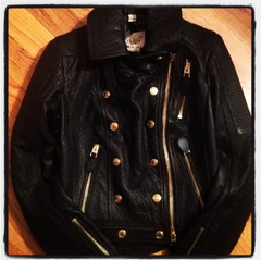 Burberry Brit Nailton Leather Biker Jacket, Willa Holland