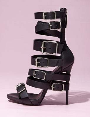 Giuseppe Zanotti Buckled Strap Leather Sandal, Rita Ora