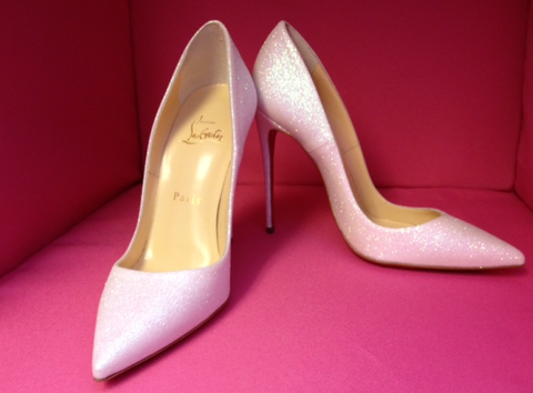SOLD!!! Christian Louboutin So Kate 120mm White Glacier Glitter