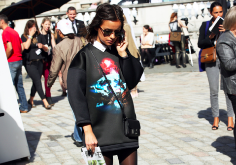 Balenciaga 'wave' Rebel Top Black Sweatshirt, Runway