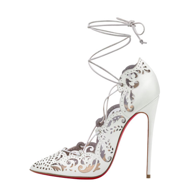 Christian Louboutin Impera Lace Up 120mm White Patent Pump Kylie