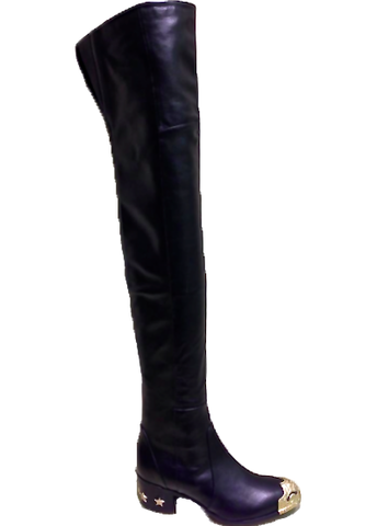 2014 Chanel Thigh High Boots with Metal Cap Toe, Runway