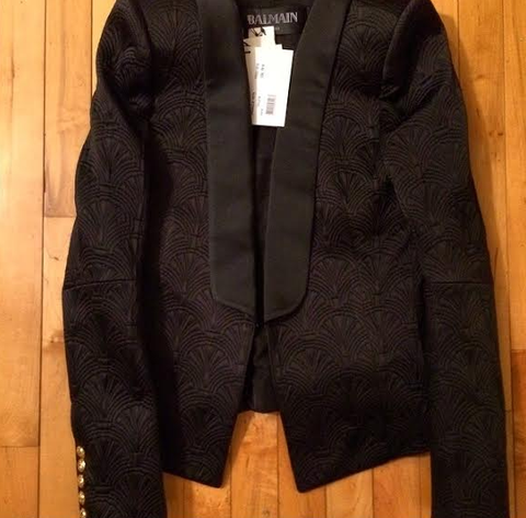 2014 NEW BALMAIN  SILK SATIN & SHELL BROCADE JACKET