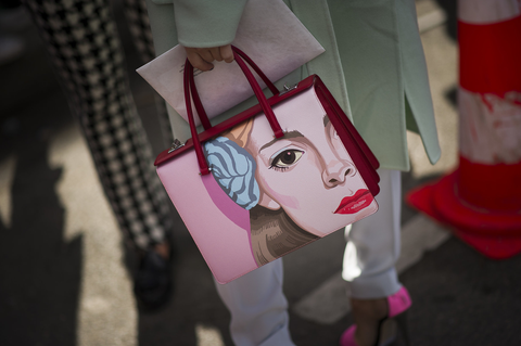 SOLD!! Prada Runway Saffiano Pink Girl Face Art Purse, Bag: ASO RIHANNA + Fashionweek