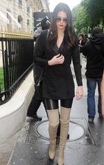 ** 2014 Celine Thigh High Boots in Calfskin Taupe: Runway, Paris, Kendall Jenner **