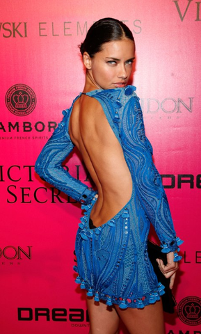 Emilio Pucci Spring 2011 Runrway Longsleeve Backless Embroidered Dress: Adriana Lima, Rihanna