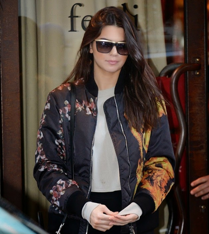 Givenchy Printed Bomber Jacket (Floral and Fire Print): ASO Kendall Jenner
