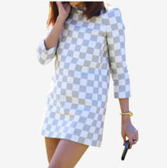 ** Louis Vuitton Spring 2013 RTW Damier Print Half-Sleeved Dress **