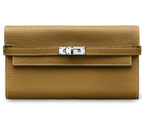 ** Hermes Kelly Long Wallet, Taupe Leather: Kim Kardashian **