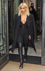 *** 2015 Givenchy Spring Narlia Over-The-Knee Boots, Black Leather: Kim Kardashian, Kendall Jenner **