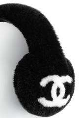 * NEW RUNWAY Chanel Rabbit Fur Earmuffs Ear Muffs Embellished CC Signature *