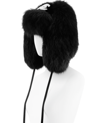 * NEW RUNWAY Chanel Rabbit Fox Fur Black White CC Hat Chapka *