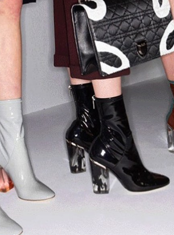 Christian Dior Fall 2015 Latex Patent Boots Lucite Black Ink Heel