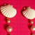 * Chanel Vintage Shell Earrings Long Dangling Pearls *