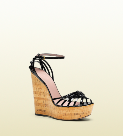 *** Gucci Wedge Sandal: Black Patent ***