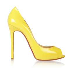 Christian Louboutin Yellow Peep Toe Pumps, Flo 120mm