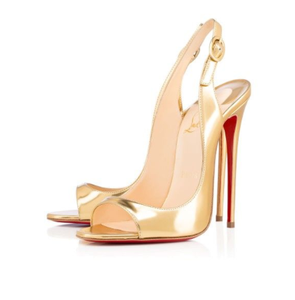 *** Christian Louboutin Gold Allenissima 130mm ***