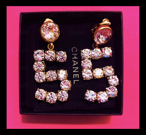 * VINTAGE GLAMOUR Chanel ( No. 5 ) Number Five Rhinestone Earrings *