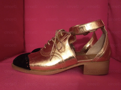 * RUNWAY Chanel Gold Leather Ankle Strap Brogue Oxfords (Cut-Out Sandals) *